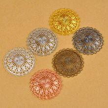 100 шт 36 мм 7 цветов Медь металлические круглые филигранные цветочные обертки соединители для ювелирных изделий DIY ювелирных изделий материал для изготовления украшений FCN-002