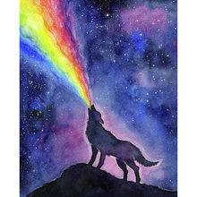 Diy картина по номерам набор из цветов радуги маслом волка на