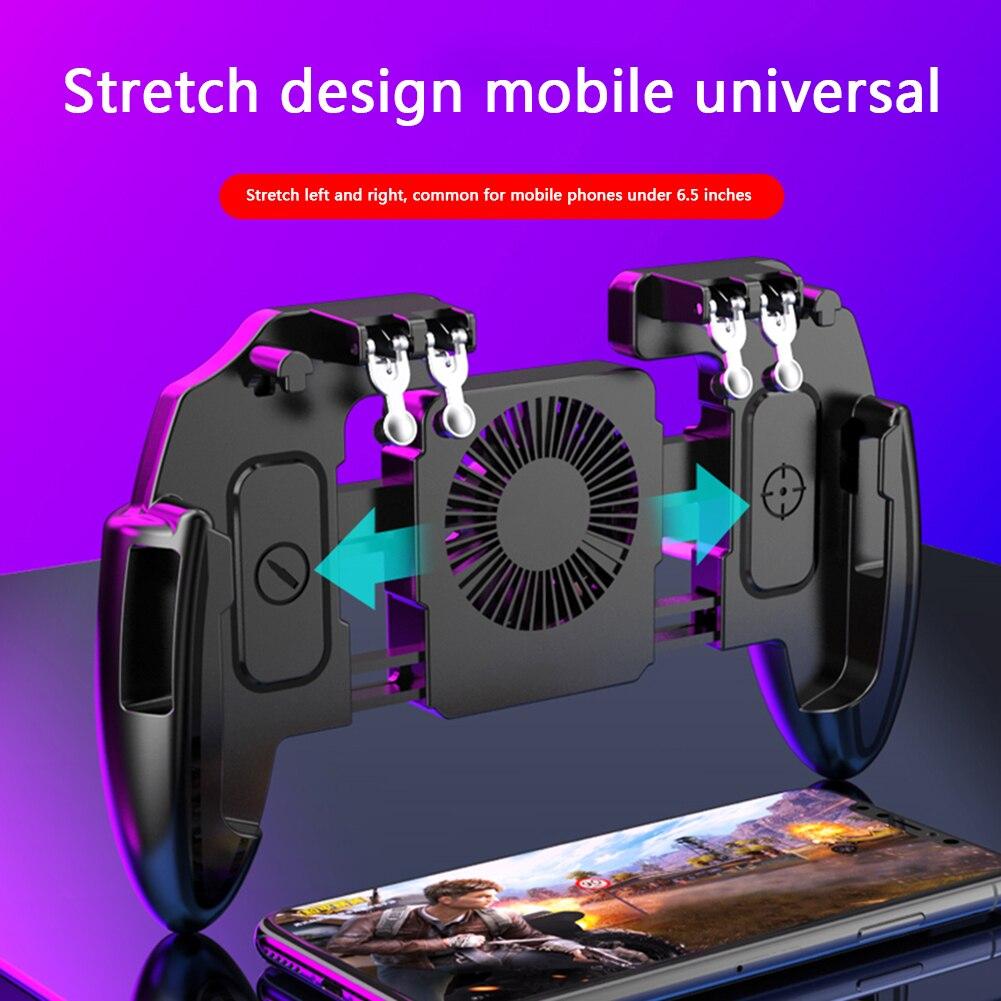 Геймпад с вентилятором охлаждения для PUBG, дополнительные триггеры для игровых кнопок, 6 пальцев