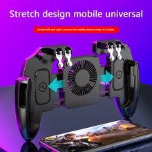 6 dedos botão de jogo disparadores gamepad tiro do telefone móvel com ventilador de refrigeração para pubg auxiliar artefato controlador joystick