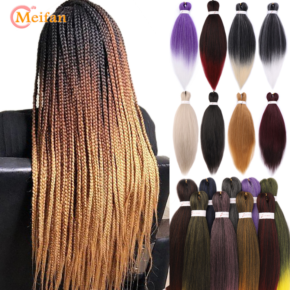 MEIFAN EZ Braid Synthetic Hair Extensions Jumbo Kanekalon Crochet Hair Ombre Pre Stretched Braiding Hair Grey Pink Easy Braids