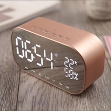 VTIN S2 LED Display Wireless Bluetooth Speaker Digital Alarm Clock Subwoofer Stereo Loudspeaker Support FM Radio/AUX-in/TF Card k5 stereo 2 0 subwoofer wireless bluetooth speaker support aux usb charger handsfree fm radio alarm clock for iphone android pc