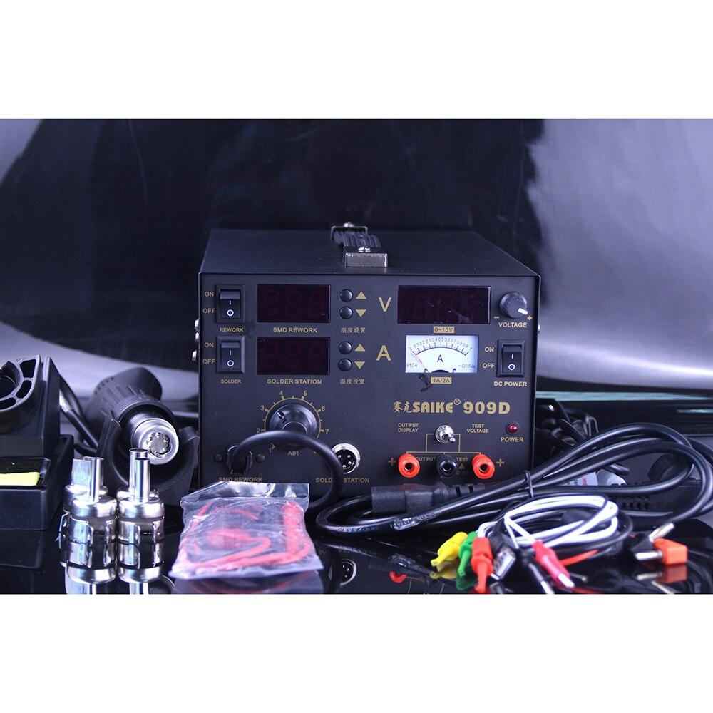 Soldering Station 3 In 1 Saike 909D 110V Or 220V Saike 909D Rework Station & Hot Air Gun 250x185x175mm