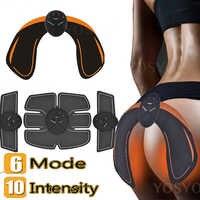Yosyo 6 pacote ems inteligente estimulador muscular abdominal trainer almofada + ems quadril trainer nádegas levantamento de bunda emagrecimento massageador unisex