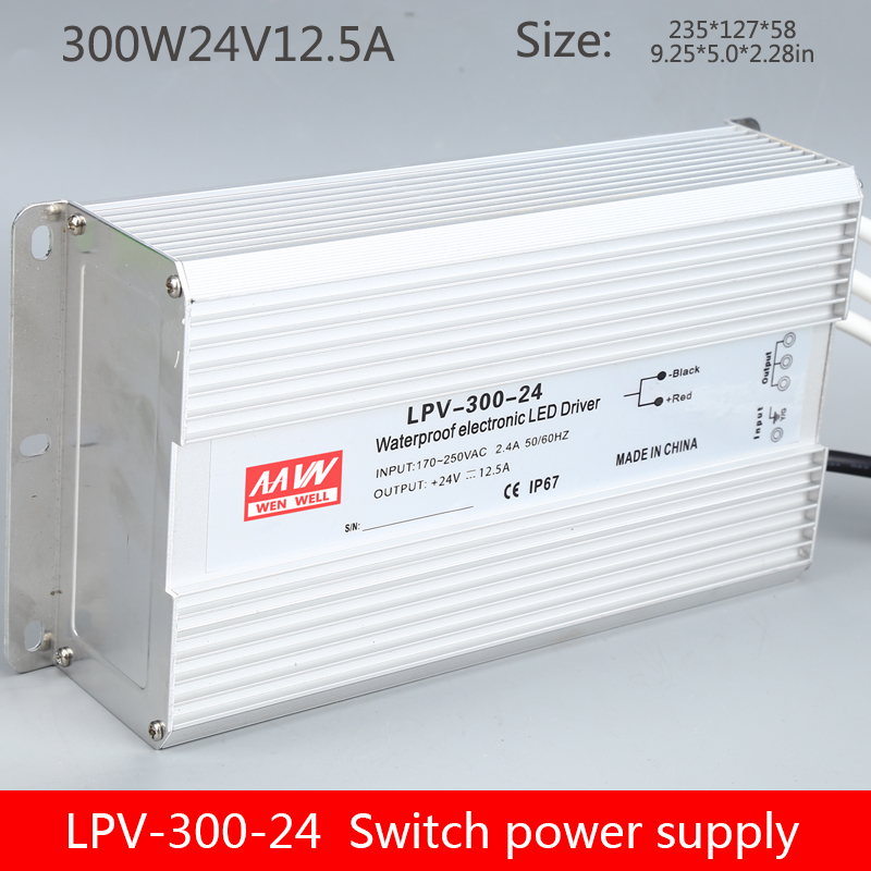 IP67 waterproof LPV-300W-<font><b>24V</b></font> lighting switching <font><b>power</b></font> <font><b>supply</b></font> constant voltage luminous word 300W24V transformer image