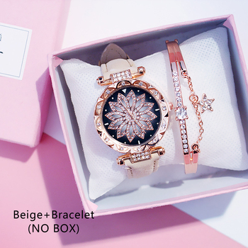 Casual Women Romantic Starry Sky Wrist Watch bracelet Leather Rhinestone Designer Ladies Clock Simple Dress Gfit Montre Femm - Beige And Bracelet