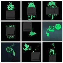 cartoon diy cute rabbit animal luminous switch sticker glow in the dark wall sticker home decor kids room decoration living room Green Fluorescent Switch Sticker Luminous Glow in the Dark Wall Sticker Decal Removable Vinyl Art Mural Kids Room Home Decor