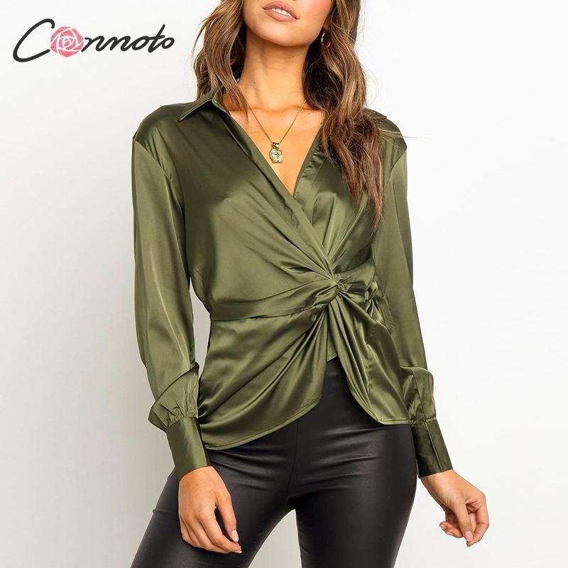 Conmoto Green Autumn Winter 2019 Blouse Women Wrap Sexy Satin Bow Blouse Shirts Vintage High Fashion Club Mujer Blusas