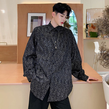 Men Long Sleeve Bright Shining Loose Casual Shirt Male Hip Hop Streetwear Vintage Fashion Party Dress Shirts Stage Clothing