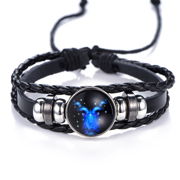 12 Constellation Luminous Bracelet men Leather Bracelet Charms Bracelets Aries Pisces Aquarius Leo Scorpio Libra Gemini jewelry 2