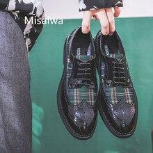 Misalwa شخصية الرجال البروغ الحديثة أحذية مختلط اللون الأخضر الأحمر الرسمي أكسفورد الجناح أحذية براءات الاختراع والجلود وأشار الشقق