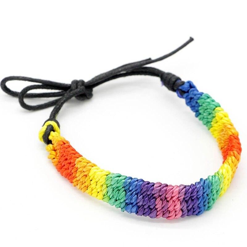 Brazalete de hebra de cuerda trenzada de cuerda tejida con orgullo Gay de Lesbianas y arcoíris brasileños
