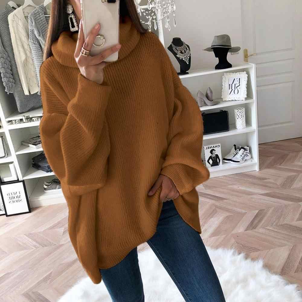 Neue Rollkragen Frauen Pullover Herbst Winter Langarm Oversize Jumper 2019 Gestrickte Lose Mode Pullover Femme Kleidung #1011