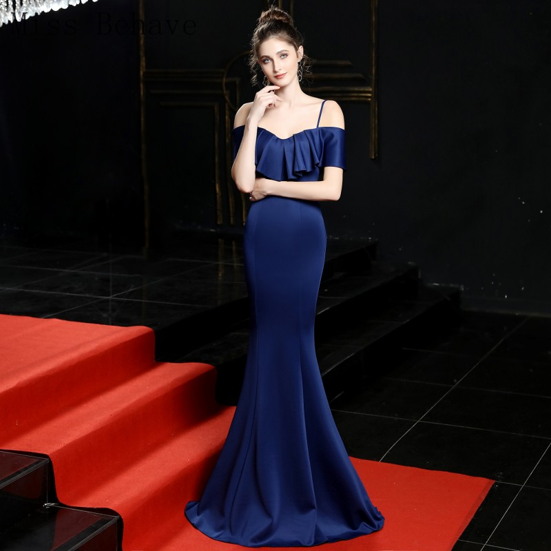 DD JYOY Simple Design Mermaid Evening Dress Unique Neck Design 2020 New Occasion Dresses for Women Zipper Back