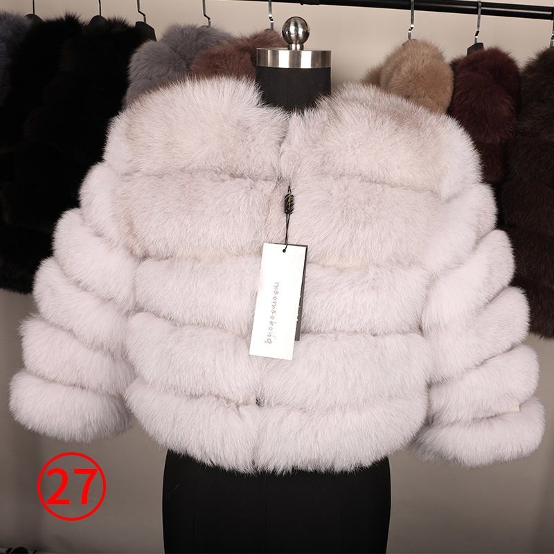 maomaokong 50CM Natural Real Fox Fur CoatWomen Winter natural fur Vest Jacket Fashion silm Outwear Real Fox Fur Vest Coat Fox 36