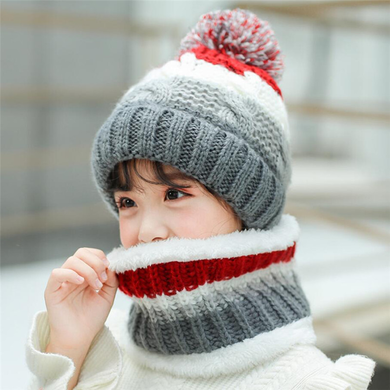 Big Kids Winter Knit Hat And Scarf Set Child Plush Warm Pom Pom Cap Scarves 2019 Girls Patchwork Circular Scarf Hat  5-12T