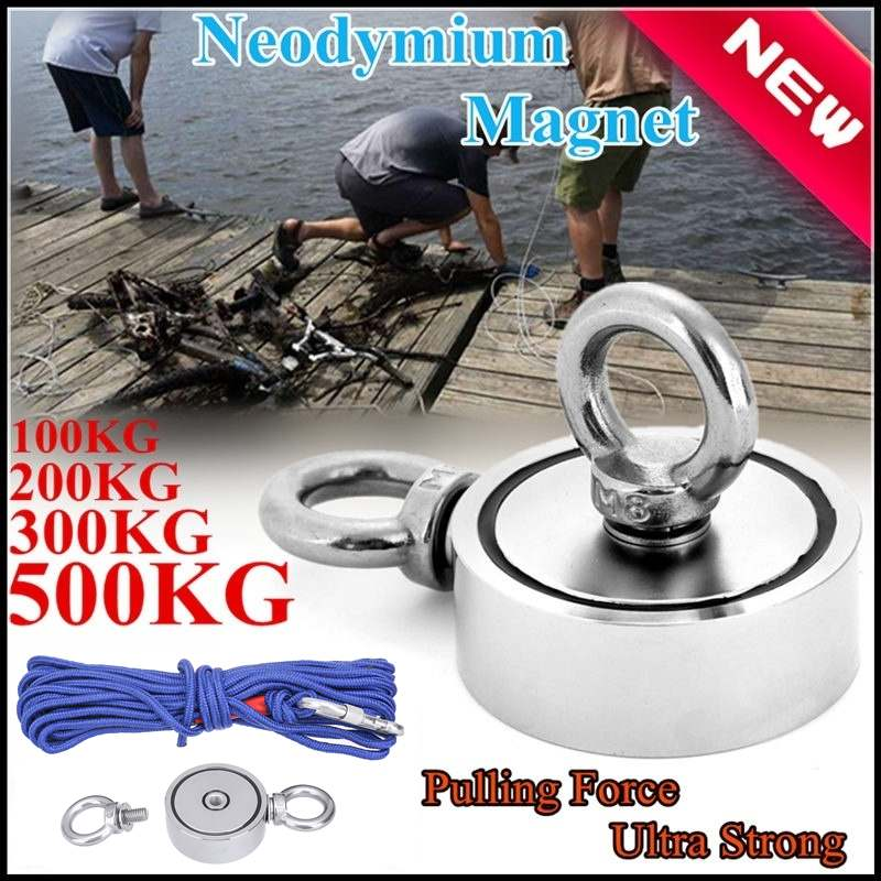 500kg Powerful Round Neodymium Magnet Hook Strong Salvage Magnet Sea Fishing Equipments Holder With Ring Hunter Holder+20M Rope