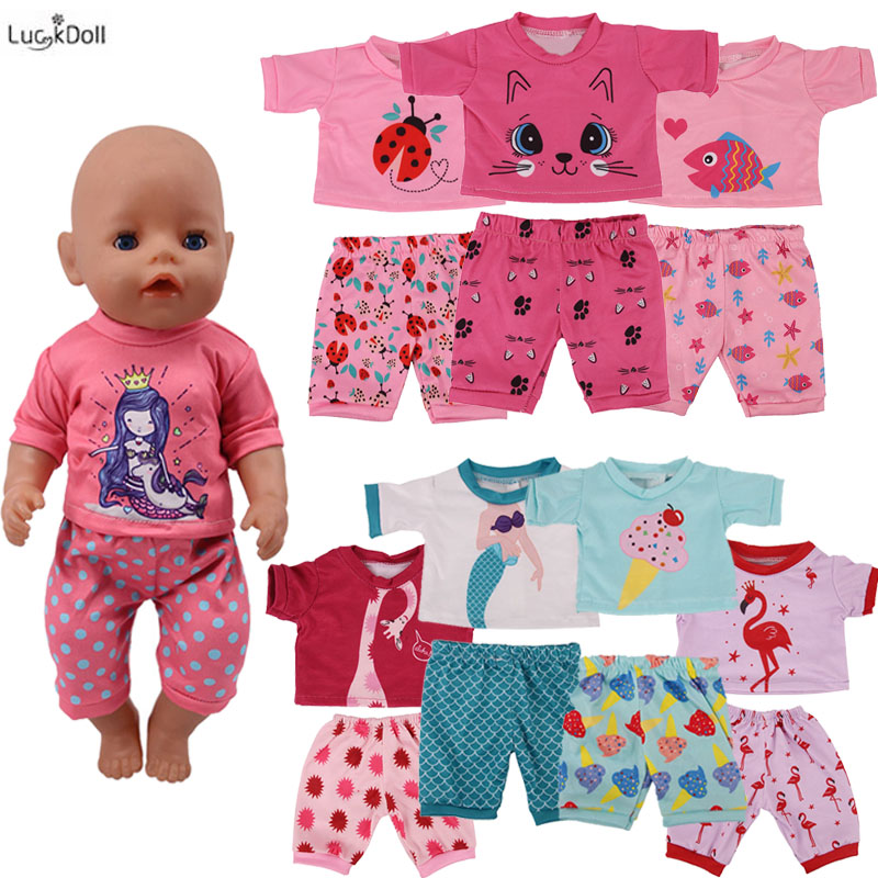 Mermaid (1 Suit=T-shirt + Pants) Fit 18 Inch American&43 CM Baby Doll Clothes Accessories,Girl's Toys,Generation,Birthday Gift