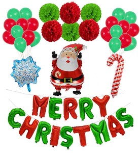 Image 3 - חתיכה החג שמח חדש שנה מסיבת חג המולד מסיבת רדיד בלון סנטה קלאוס עץ חג המולד חמוד איש שלג בצורת בלון דקור