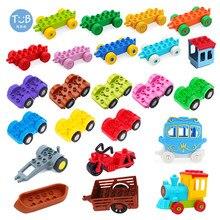 Grande blocos de construção veículo tráfego trem carro parte inferior da motocicleta transporte reboque barco tijolos acessório brinquedo compatível com duplo