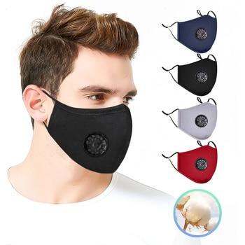 High Quality 3pcs Unisex Cotton Breath Valve Face Mouth Mask Cloth Activated Carbon Filter Respirator For Men Women 4 Colors 1