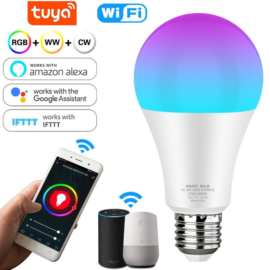 Smart LED Light Bulb 12w 15w E27 WiFi Multicolor Light Bulb Work With Alexa Echo Google Home RGB Changing Bulb Smart Life APP