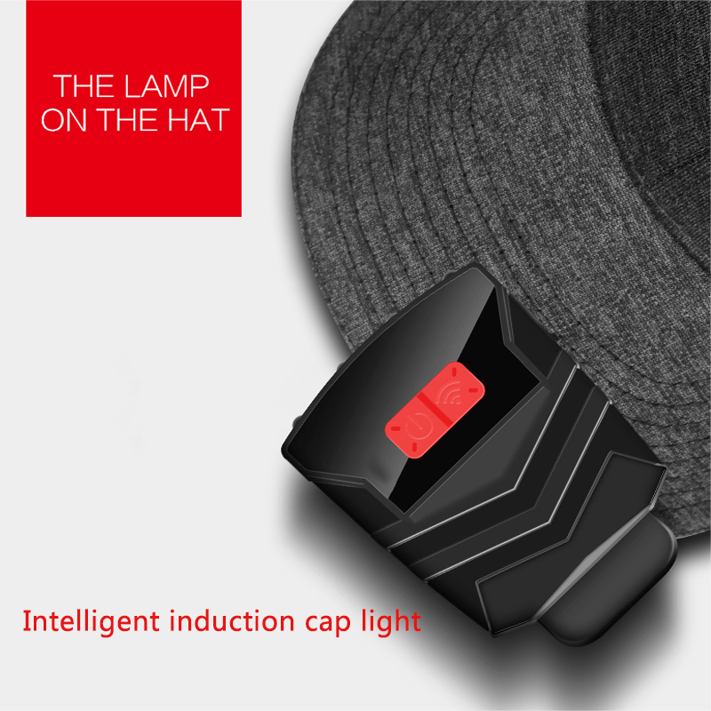 Mini Induction Charging Headlight Glare Night Fishing Light Bright LED Cap Lamp Head-mounted Visor Clip Lamp Led Clip Flashlight