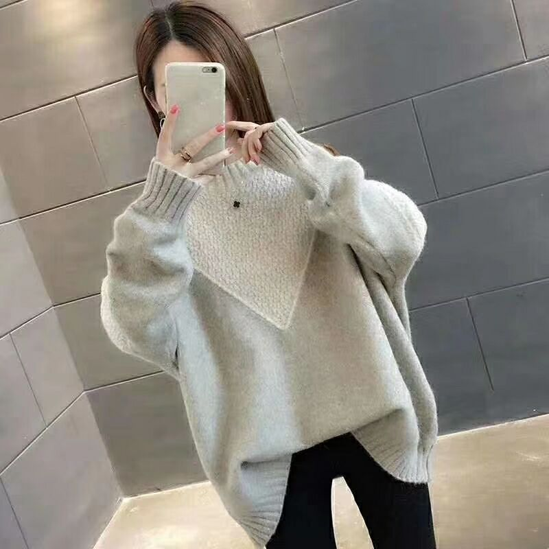 Knitted Women Pullovers Sweater 2019 Full Sleeve And Length Solid Loose O-neck Casual Suit Autumn And Winter