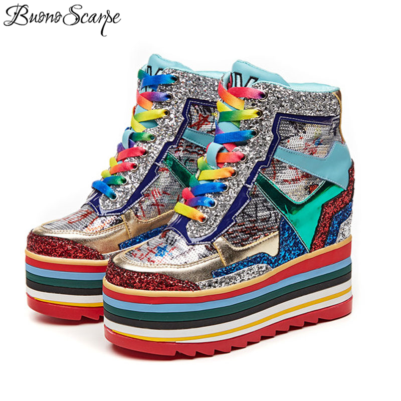 Rainbow Chunky Sneakers Women Casual Wedge Shoes High Heel Bliing Bling Platform Sneakers New Colorful High Platform Heel Shoes