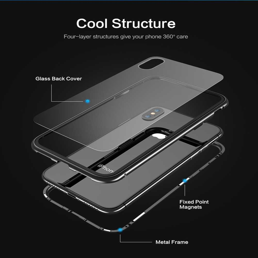 Ciuman Magnetik King Case untuk Samsung A50 Cover A70 A20 A30 S10 S9 S8 Tempered Glass Case untuk Samsung S10 PLUS Magnetik Fundas