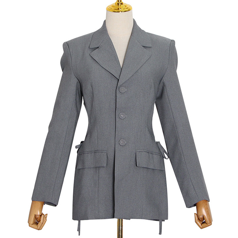 SeeBeautiful Waist Hollow Out Loose Blazer Coat Notched Collar Long Sleeve Single Breasted New Fashion 2020 Autumn Women M234