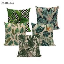 Nordic Pillowcase Cushion-Cover Tropical-Botanical Green Sofa Linen Bedroom Beige-Fur