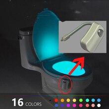 Автоматический для туалета чаша Ночная легкая миска боковая лампа на прищепке Чувство движения светодиодный свет 16 видов цветов Сенсор Ноч...