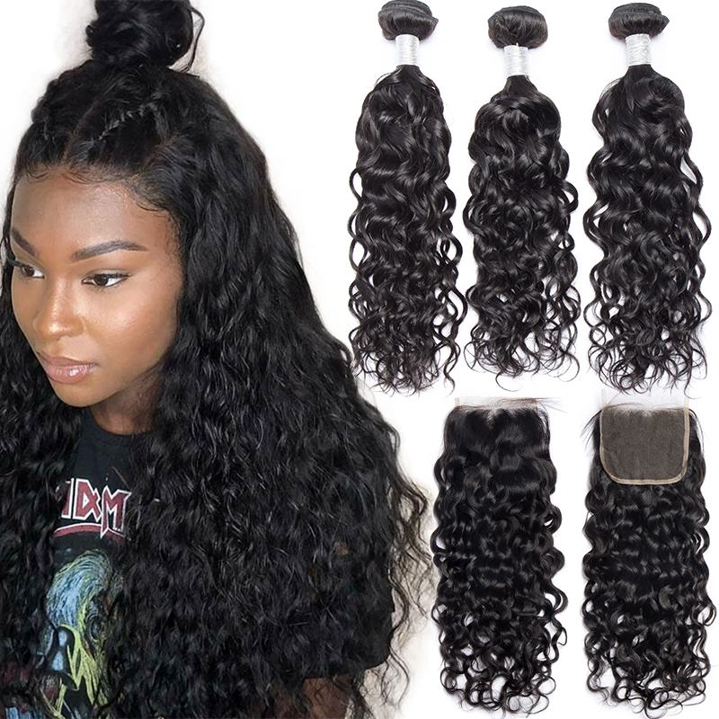Alibele Water Wave Bundles With Closure Wet And Wavy Human Hair With 3 Bundles For Brazilian Remy Hair Hair Extension For Women