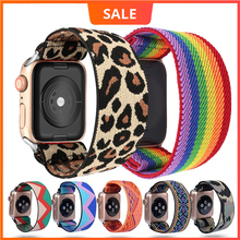 Scrunchie Elastic Watch band for apple watch 6 5 4 3 38mm 42mm women Leopard loop for iwatch 42mm 40mm 44mm watchband for iwatch