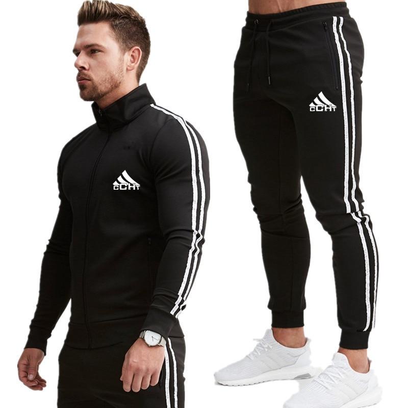 2020 New Men Fashion Striped Long Sleeve Hoodies+Pants Set Male Tracksuit Sport Suit Men's Gyms Set Casual Sportswear Suit
