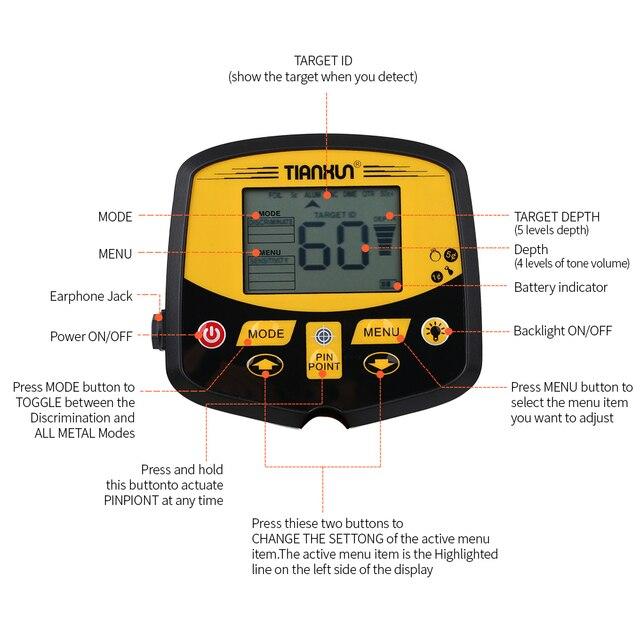 TIANXUN TX-950 حساسية عالية المهنية تحت الأرض الذهب والفضة للكشف عن المعادن الكنز هنتر البحث مع شاشة الكريستال السائل 2