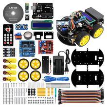 10Set LAFVIN Kit de coche Robot inteligente multifuncional con R3, Sensor ultrasónico, módulo Bluetooth para Arduino para UNO con Tutorial