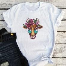 Женская футболка с принтом коровы Повседневная забавная цветочным