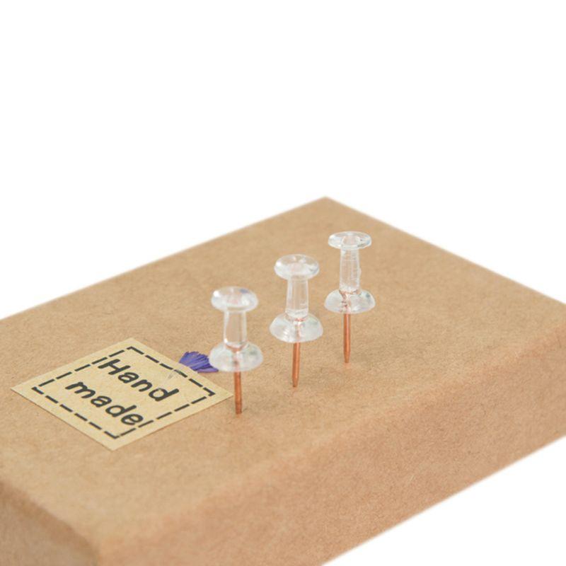 2021 New 100pcs Transparent Rose Gold Push Pins Thumb Thumbtack Board Pins Drawing Photo Wall Studs Office School Supplies