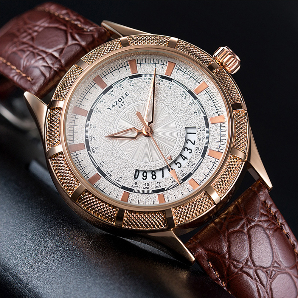 YAZOLE Men Watch Luxury Brand Business Man Quartz Watch Mens Complete Calendar Waterproof Wristwatch Leather Band Male Clock New
