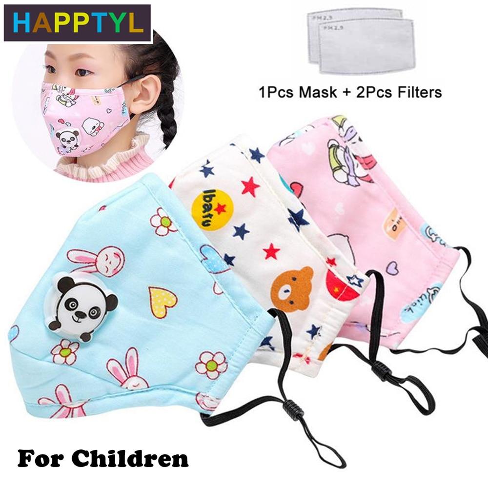 HAPPTYL PM2.5 Winter Children Mask Respiratory Valve Cartoon Panda Thicken Smog Mask Warm Dust Mask Fits 2-10 Years Old Kids