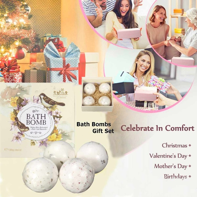 4Pcs/set Aromatherapy Bath Bombs For Adults and Kids Bubbles Moisturizing Relaxing Spa Balls Refresh Skin Soft Smooth Bath Car