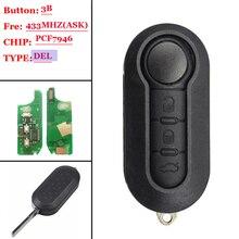 3 кнопки дистанционного флип ключ автомобиля 433 МГц 315 для Fiat 500 Grande Punto Doblo Qubo 2006 2007 2013 DelphiBSI с PCF7946 чип Нет