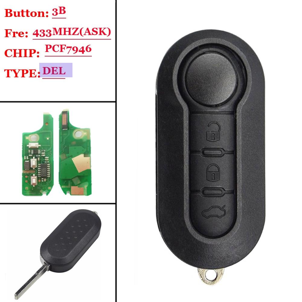 3 Button Remote Flip Car Key 433Mhz 315 For Fiat 500 Grande Punto Doblo Qubo 2006 2007 2013 DelphiBSI With PCF7946 Chip No