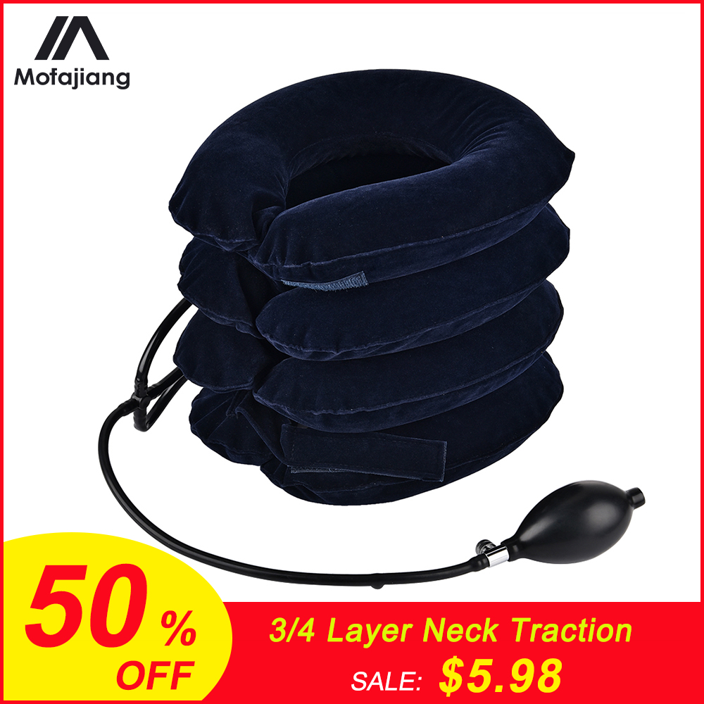 3/4 Layer Inflatable Air Cervical Neck Traction Device Soft Neck Collar Pillow Pain Stress Relief Neck Posture Stretching Brace(China)