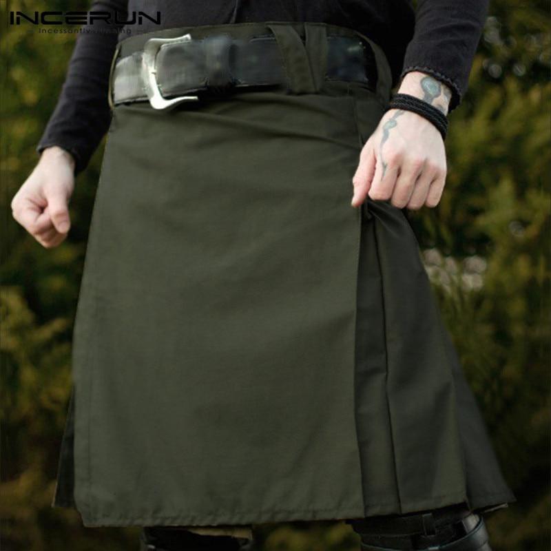 Men Scottish Kilt Traditional Pleated Skirts Gothic Punk Solid Color Scottish Kilts Trousers Men Vintage Skirts INCERUN 2020