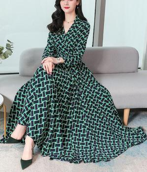 2020 Spring New Arrival Bohemian Style V Collar Plaid Long Sleeve Women Chiffon Dress Plus Size S-3XL