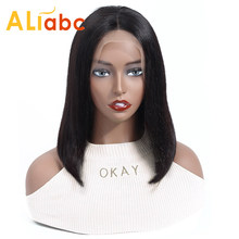 Aliabc 13*4 Lace Front Human Hair Bob Wigs Peruvian Bob Wigs For Black Women Natural Color Remy Straight Short Lace Front Wigs(China)