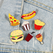 Brooch Jewelry Pizza Burger Fries Chicken-Drinks Dog-Enamel-Pins French 13-Style Popcorn